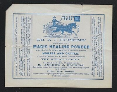 Usa 1872(?) Hopkins Magic Healing Powder For Horses & Cattle Advertising Leaflet