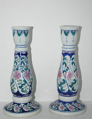 "Vintage Pair Chinese Art Pottery Hand Painted 8-1/2"" Tall Candle Holders Floral"