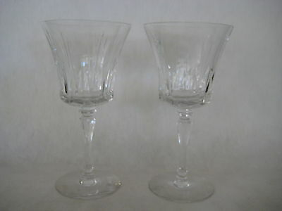 "SET OF 2 BEAUTIFUL CUT CRYSTAL GLASS WINE/WATER GOBLETS, MARK ""T"" ON THE BOTTOM"