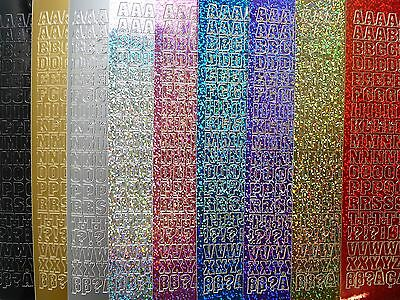 LETTERS / ALPHABET Peel Off Stickers 10mm Metallic Holographic Shimmer Uppercase