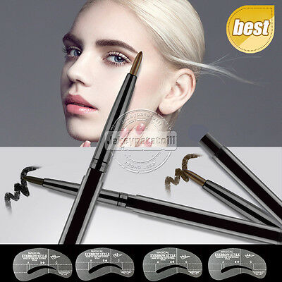 UK Waterproof Twist Up Eyebrow Eyeliner Pencil Shaping Stencils Cosmetic Brown