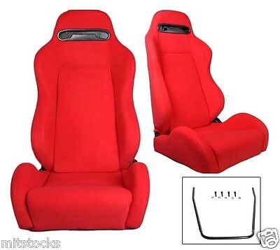 New 2 Red Cloth & Slider Racing Seats Reclinable Fit For Dodge