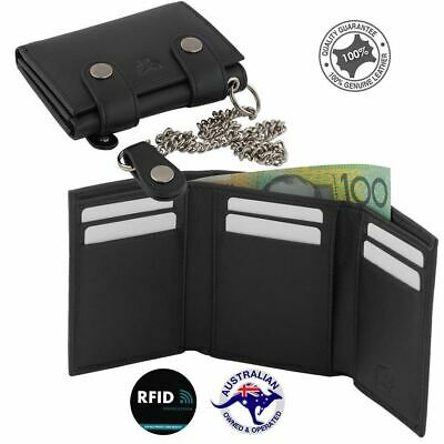 New Genuine Cowhide Leather Biker's RFID Protection 3 Fold Chain Wallet Black