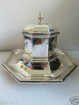 Strikingly beautiful heavy Solid Silver (not weighted) INKWELL  BY George Fox