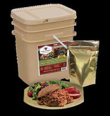 Wise long term food storage 60 serving prepper real beef and chicken rice bucket