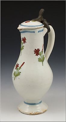 Wonderful 18thC French Faience Covered Jug