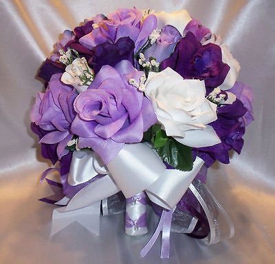 Round Silk Bridal Bouquet Package Purple Lavender White Lily Wedding Flowers