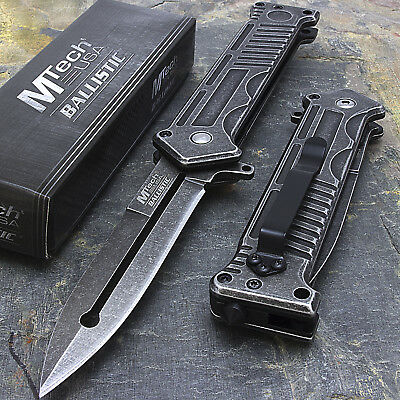 """8"""" MTECH USA MILITARY SPRING ASSISTED STILETTO TACTICAL POCKET KNIFE Blade"""