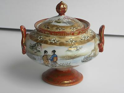 Antique Rare Geisha Japanese Red Gilded Hand Painted Signed Bowl with Cover