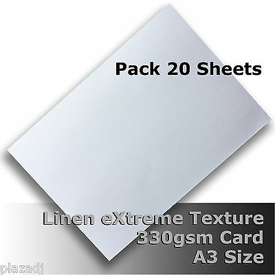 20 Sheets Linen eXtreme Finish Quality Card A3 Size White 330gsm #H7068