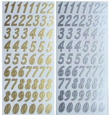 NUMBERS Peel Off Stickers 20mm Tall  1, 2, 3, 4, 5, 6, 7, 8, 9, 0 Card Making