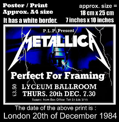 Metallica live concert Lyceum London 20th of December 1984 A4 size poster print