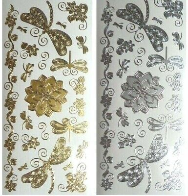 DRAGONFLIES & FLOWERS Peel Off Stickers Flourish Leaves Border Gold or Silver