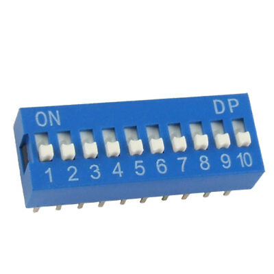 10 Pcs 2.54mm Pitch 10 Positions Slide Type DIP Switch Blue
