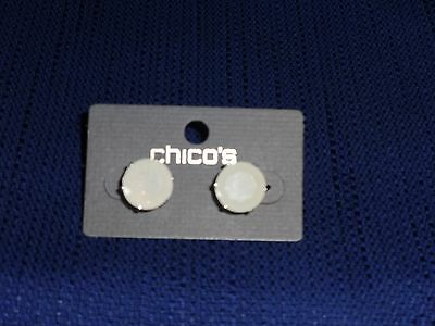 Chico's Silver Tone Frosted White Stone Post Earrings New