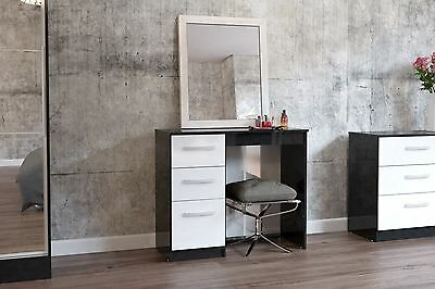 Birlea Lynx High Gloss White and Black 3 Drawer Dressing Table chest new