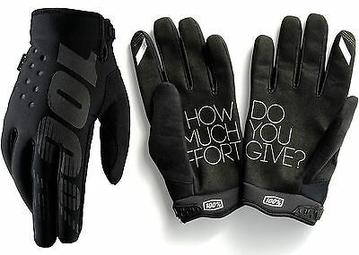 100% Brisker Cold Weather Winter Motocross Enduro Bike Gloves Black