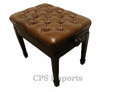 GENUINE LEATHER Pillow Top Adjustable Artist Piano Bench