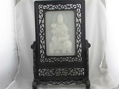 Rare Vintage Hand Carved Chinese Table Screen With Jade Plaque Of Guanyin