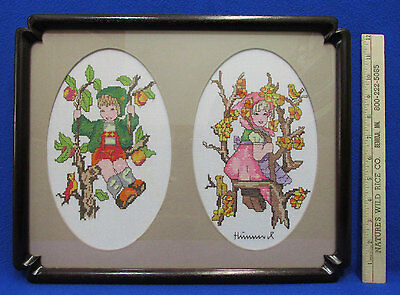 Completed Hummel Figurine Cross Stitch Needlepoint Craft Framed Apple Tree Boy