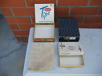 RARE LOT VINTAGE BOXES,PHILLIES TIPS,SEE'S CANDIES,F.S.WEBSTER'S & STAMP'S BAG