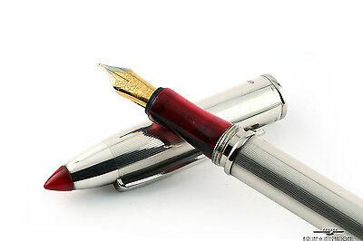 Marlen Vintage Sterling Silver Red Arianne Shuttle Fountain Pen - Rare!