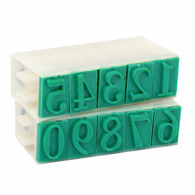 Rubber 0-9 Digits Combination Numbering Stamp Green Off White 23mm Wide