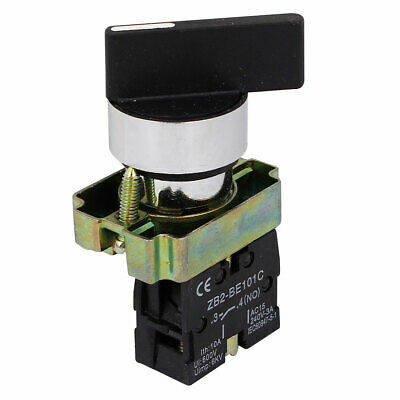 AC 240V 3A NO SPST Black Cap 2 Position Selector Latching Rotary Switch