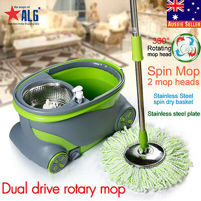 360 Degree Magic Spinning Mop &Stainless Steel Spin-Dry Bucket w/ 2 Mop Heads