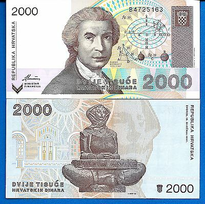 Croatia P-23 2000 Dinara Year 15.1.1992 Uncirculated  Banknotes Europe
