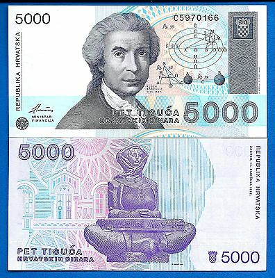 Croatia P-24 5000 Dinara Year 15.1.1992 Uncirculated Banknotes Europe