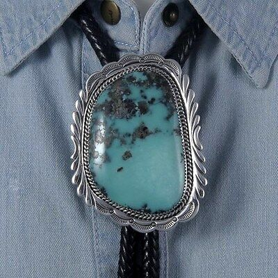 Beautiful Genuine Campitos Turquoise Sterling Silver Bolo Tie by Tom Ahasteen