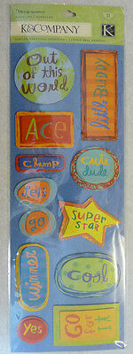 "Kids902 K&COMPANY Chipboard Stickers OUT OF THIS WORLD, BOY - 11pcs - 13""x4"""