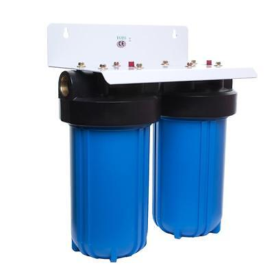 "10"" Big Blue Twin Jumbo Water Filter Housing + Choice of Carbon & PP Filters"