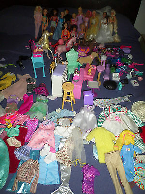 Huge lot of Barbie dolls , Furniture Clothes and Accessories