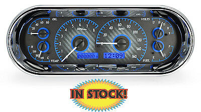 Dakota Digital Universal Oval Gauge Set Carbon Fiber w/ Blue light VHX-1018-C-B