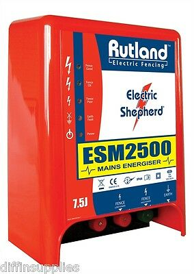 Rutland ESM 2500 Mains Energiser Fencer 7.5 JOULES 3 Years Warranty Fence 30km