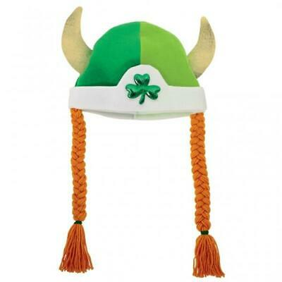 St Patricks Day Fancy Dress Viking Hat with Braids
