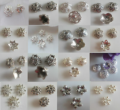 discount-large quantity 50-100-200 Metal Beads Caps Spacers silver 5mm-16,5mm