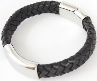 CHESTER Mens Black Leather & Stainless Steel Bracelet, Engraved, Personalised