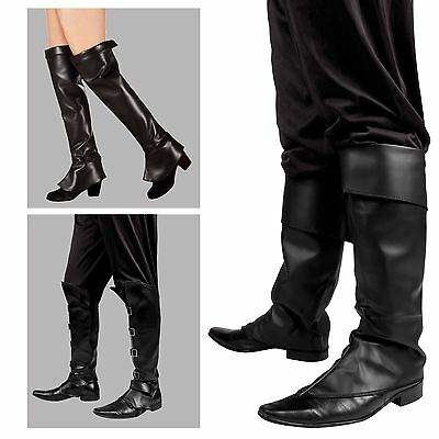 Mens Ladies Black Boot Top Covers Medieval Peter Pan Pirate Steam Punk Costume