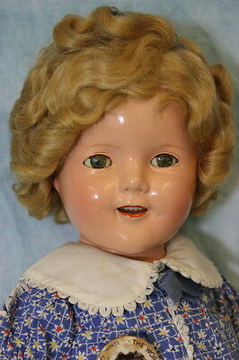 """Beautiful c.1935 18"""" Early Ideal Shirley Temple Doll Tagged Dress, Button, & Box"""