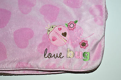 Carters Just One You Pink Brown Baby Blanket Love Lady Bug Hearts Sherpa Minky