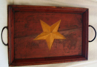Vintage Red and Black Painted Wood Tray - Cast Iron Handles Carved Yellow Star