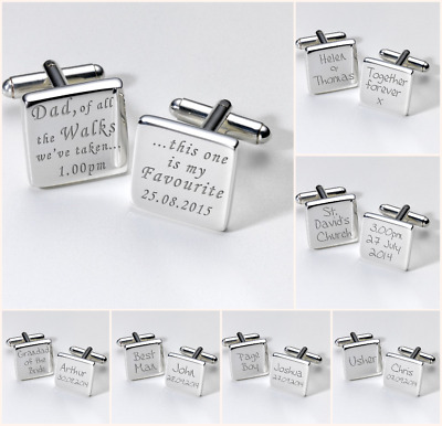 Personalised WEDDING Silver Plated CUFFLINKS Dad Father Best Man Usher Groom
