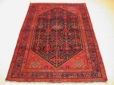 4x7 Persian Oriental Malayer Hand Knotted Tribal Navy Red Wool Area Rug Carpet