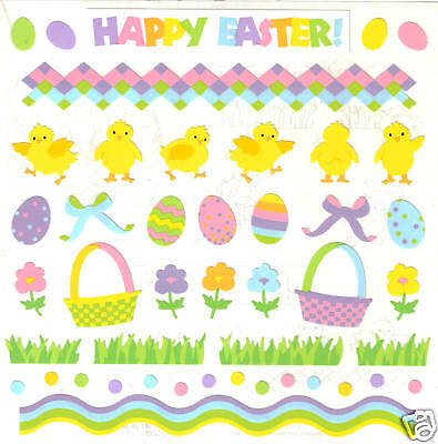 *HAPPY EASTER*  MRS GROSSMAN'S GIANT STICKERS Holiday EGGS CHICKS BASKET GRASS