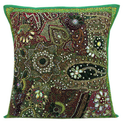 """16"""" INDIAN GREEN CUSHION PILLOW COVER THROW BEADED Ethnic Vintage Embroidery Art"""