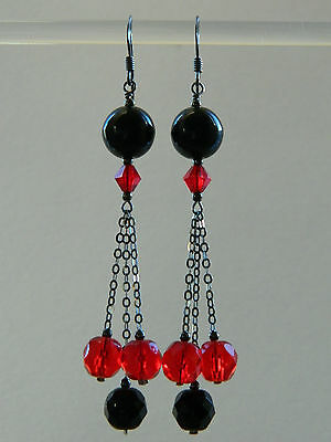 Art Deco Red Faceted Glass & Vintage French Jet & Oxidised Black Silver Earrings