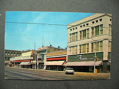 1964 Escanaba Michigan Ludington Street & Drug Store Department Store Postcard